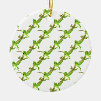 Green Lizard Pop Pattern Christmas Ornament
