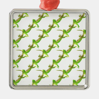 Green Lizard Pop Pattern Silver-Colored Square Decoration