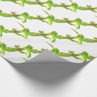 Green Lizard Pop Pattern Wrapping Paper