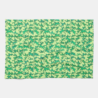 Green lizards on a lime green background tea towel
