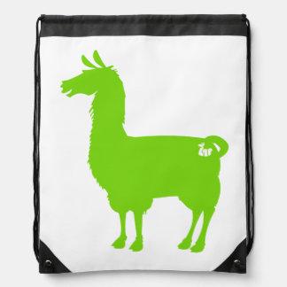 Green Llama Drawstring Bag