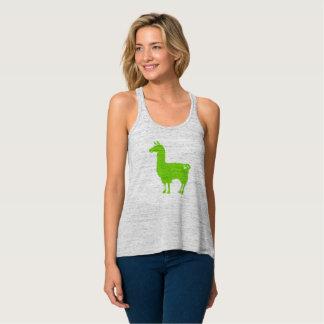 Green Llama Ladies Flowy Tank Top