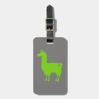 Green Llama Luggage Tag