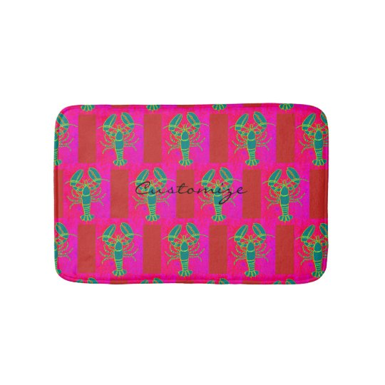 green lobsters Thunder_Cove pink Bath Mat