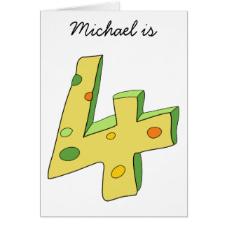 Green Lolly 4th Birthday Card