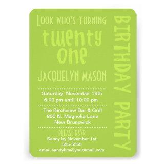 Green Look Who s Turning 21 Birthday Invitation