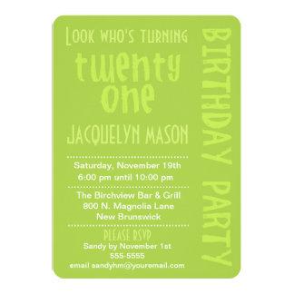 "Green Look Who's Turning 21 Birthday Invitation 5"" X 7"" Invitation Card"