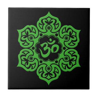 Green Lotus Flower Om on Black Tiles
