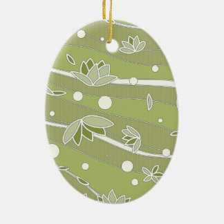 Green Lotus Flowers on Olive Stripes Christmas Ornament