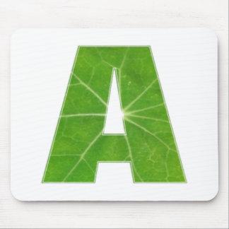Green Lotus Leaf n Sparkle AAA Fine Alphabet Mousepads