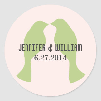 Green Love Birds Wedding Envelope Seal Round Sticker