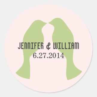 Green Love Birds Wedding Envelope Seal Classic Round Sticker