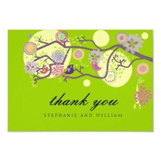 Green Love Birds Wedding Thank You Card 9 Cm X 13 Cm Invitation Card