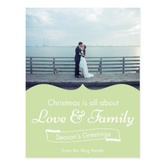 Green Love & Family Photo Christmas Postcard
