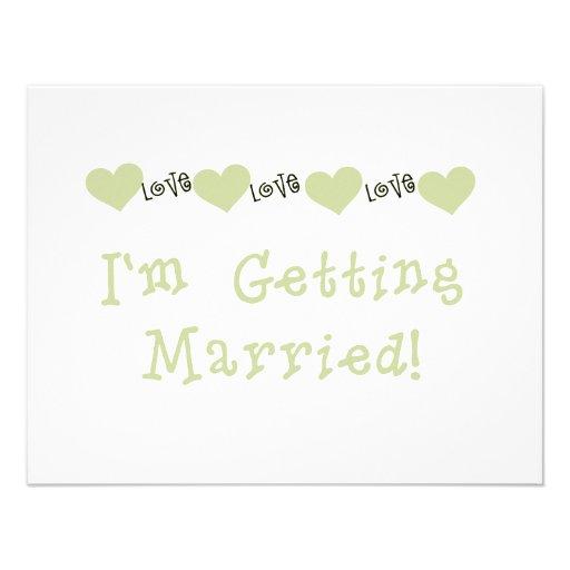 Green Love Hearts Future Bride Tshirts and Gifts Custom Invitation