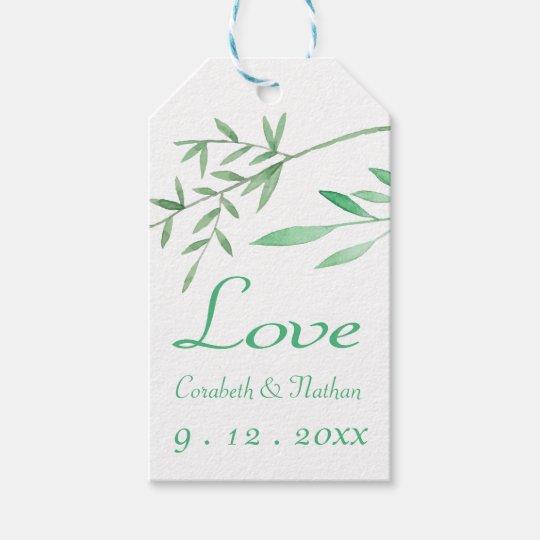 Green Love Laurel Leaf Watercolor Wedding Gift Tags