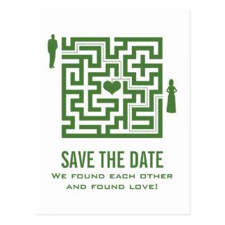 Green Love Maze Save the Date Postcard