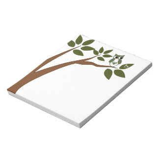 Green Love Owl In Tree Notepads