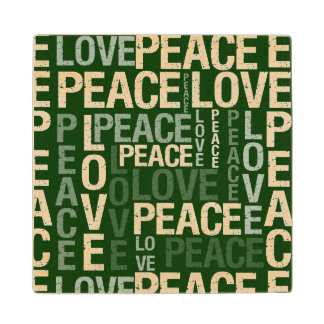Green Love Peace Typography Maple Wood Coaster