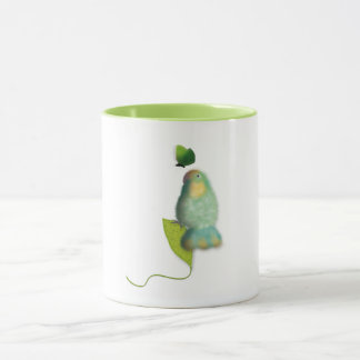 Green lovebird with butterfly mug by ORDesigns.