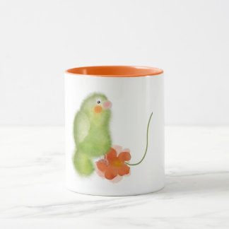 Green lovebird with flower mug by ORDesigns.
