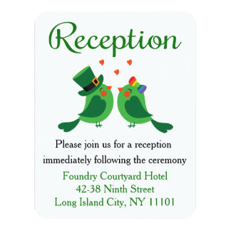 Green Lovebirds, Shamrock Wedding Reception Card 11 Cm X 14 Cm Invitation Card