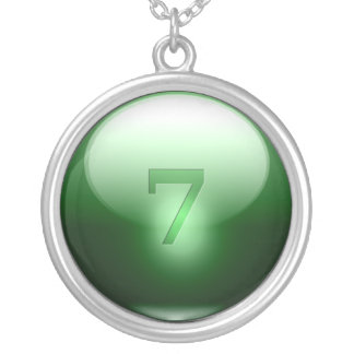 Green Lucky 7 Round Pendant Necklace