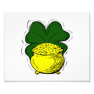 Green lucky clover pot of gold graphic png photo print
