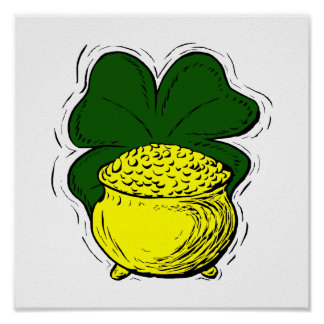 Green lucky clover pot of gold graphic.png posters