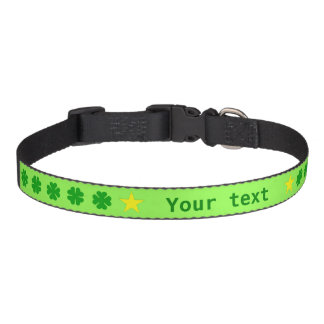 Green lucky four-leaf clover add name pet collar