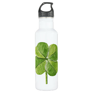 Green lucky Four-leaf clover Shamrock hand painted 710 Ml Water Bottle