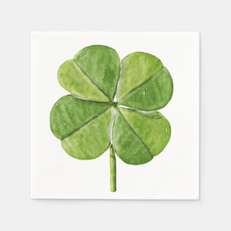Green lucky Four-leaf clover Shamrock hand painted Disposable Napkin