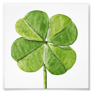 Green lucky Four-leaf clover Shamrock hand painted Photo Print