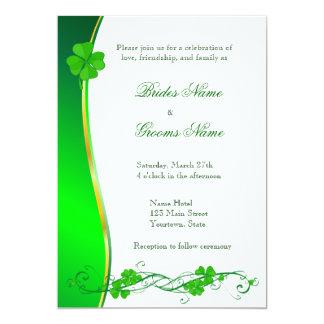 Green Lucky Shamrock Pattern Wedding Invitation