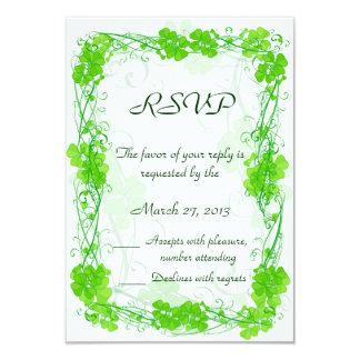 "Green Lucky Shamrock RSVP cards 3.5"" X 5"" Invitation Card"