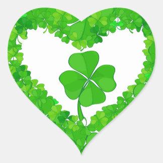 Green Lucky Shamrock Heart Stickers