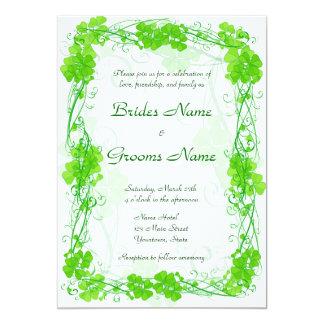 Green Lucky Shamrock Wedding Invitation