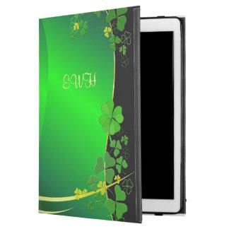 "Green Lucky Shamrock Your Monogram iPad Pro 12.9"" Case"