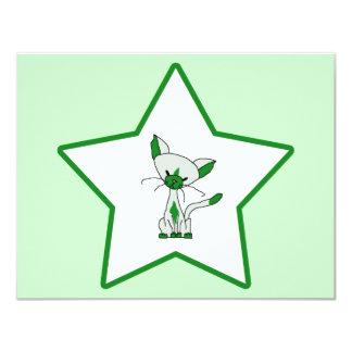 Green Lucky Star - Lucky the Cat 11 Cm X 14 Cm Invitation Card
