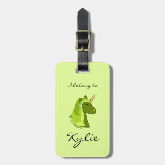 Green lucky unicorn luggage tag