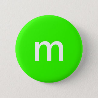 Green m&m 6 cm round badge