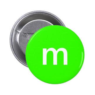 Green m&m pinback button