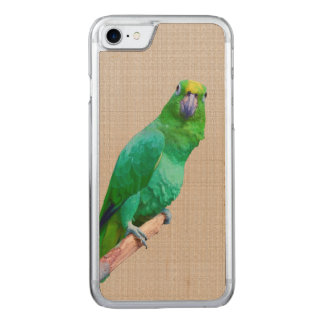 Green Macaw Parrot on a Limb Carved iPhone 7 Case