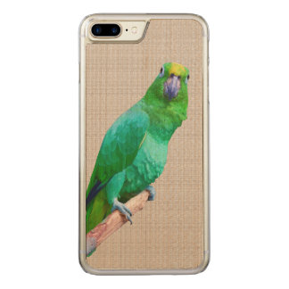 Green Macaw Parrot on a Limb Carved iPhone 8 Plus/7 Plus Case