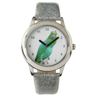 Green Macaw Parrot on a Limb Customizable Watch