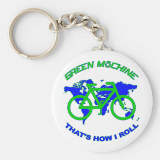 Green Machine Basic Round Button Key Ring