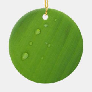 Green Macro Photo Plant Leaf Christmas Ornament