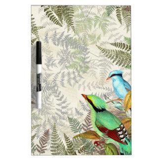 Green Magpie Birds Wildlife Ferns Dry Erase Board
