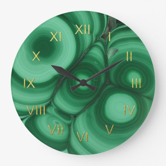 Green Malachite Clock with Faux Gold Foil Numerals