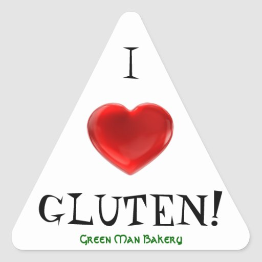 Green Man Bakery - I love Gluten Triangle Sticker